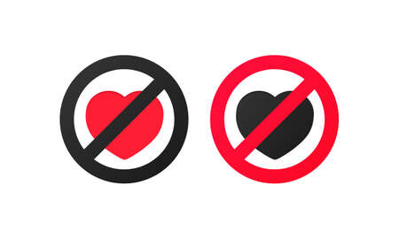 No love sign. Vector illustration of red crossed out circular prohibited sign with heart icon inside. Lack of love pictogram. Vector on isolated white background