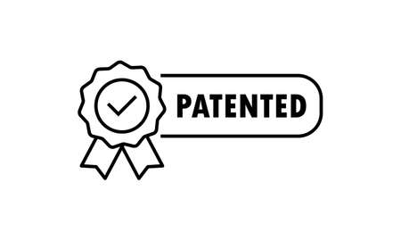 Patented icon. Patented product award icon. Registered intellectual property, patent license certificate submission. Vector on isolated white background