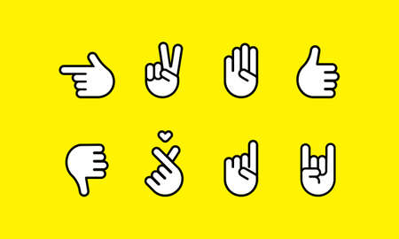 Hand gestures and sign language line icon set. Vector on isolated background. EPS 10.