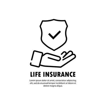 Life insurance policy services conceptual design. Hands holding insurance shield with check mark. Vector on isolated white background