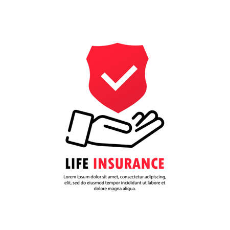 Insurance policy services conceptual design. Hands holding insurance shield with check mark. Vector on isolated white background