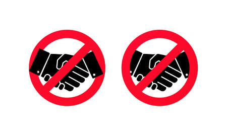 No handshake icon. No dealing. No collaboration. Not allow handshake sign. Vector on isolated white background. EPS 10.