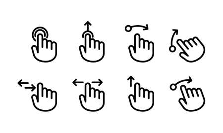 Hand cursor touch screen gestures icon set. Swipe to left right up icon set. Hand finger left, right, up. Vector on isolated white background.