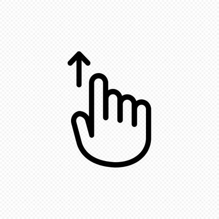 Hand cursor touch screen gestures icon. Swipe up icon. Vector on isolated transparent background