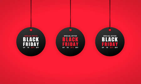 Black friday sales tag. 25, 50 and 75 percent discount. Vector on isolated background. EPS 10.