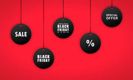 Black friday sales tag. 50 percent discount. Vector on isolated background. EPS 10.