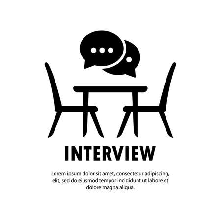 Interview icon. People sitting at the table simple line icon. Business meeting symbol. Vector on isolated white background. EPS 10.