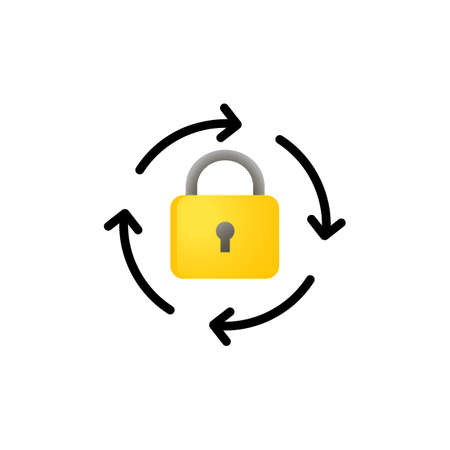 Lock reload icon. Rotation arrows with lock outline icon. Update password. Vector on isolated white background Vector Illustration
