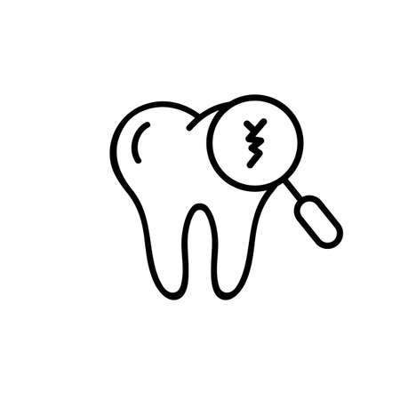 Cracked tooth icon. Dental and medicine. Caring for teeth, broken teeth and cavities. Vector on isolated white background. EPS 10.