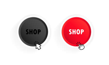 Shop button with cursor. Vector on isolated white background. EPS 10.