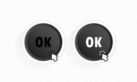 Ok button with cursor. Vector on isolated white background