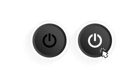 Power on button icon. Black button power. Push-button power of. Power with cursor. Vector illustration.