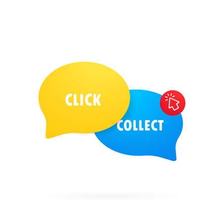 Click and collect icon. Clipart image in flat style. Buy online pick up at store. E-commerce and omni-channel concept. Online Shopping. Vector illustration. Illusztráció