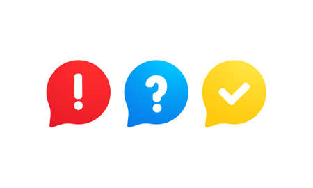 Quiz logo icon vector. Bubble speeches with question and check mark signs. Concept of social communication, chatting, interview, voting, discussion, talk, team dialog, group chat Illusztráció