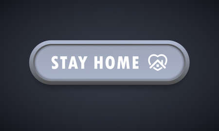 Stay home button icon. Colorful web icon layout button. Blogging. Social media concept. Coronavirus. Pandemic. Vector illustration. EPS 10. Иллюстрация