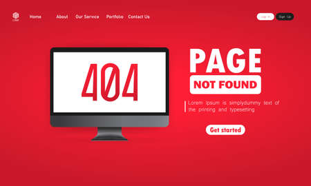 404 error illustration. Page not found message on computer screen. Design for web page - disconnect banner for website. Vector on isolated background.