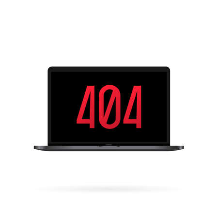 404 sign on laptop screen illustration. Error page or file not found concept. For web page, banner, social media, documents, cards, posters. Vector on isolated white background. Illusztráció