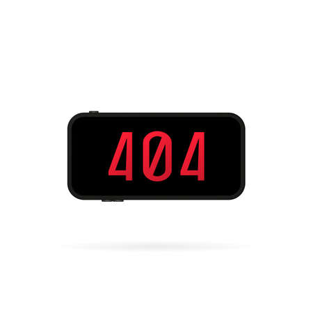 404 sign on smartphone screen illustration. Error page or file not found concept. For web page, banner, social media, documents, cards, posters. Vector on isolated white background. Illusztráció