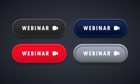 Webinar button set. Watching online streaming, course, seminar. Vector on isolated background.