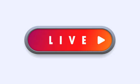 Live button. Live streaming, online webinar, lesson, video tutorial. Vector on isolated white background.