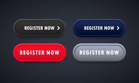 Register now button set. For website. Registration. Vector on isolated background.