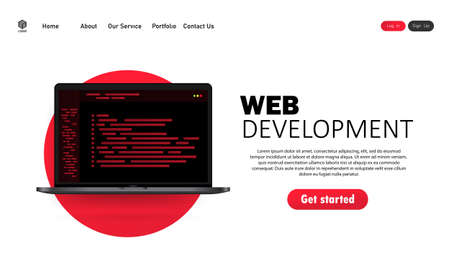 Web development illustration. Flat design concepts for analysis, coding, programming, programmer and developer. Vector on isolated white background.