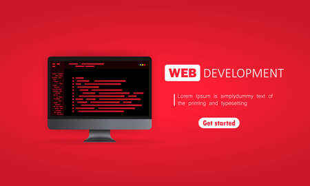 Web development on computer illustration. Flat design concepts for analysis, coding, programming, programmer and developer. Vector on isolated background.