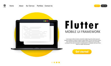 Learn to code Flutter Mobile UI Framework on laptop screen, programming language code illustration. Vector on isolated white background.