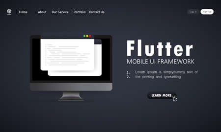 Learn to code Flutter Mobile UI Framework on computer screen, programming language code illustration. Vector on isolated white background. Illusztráció