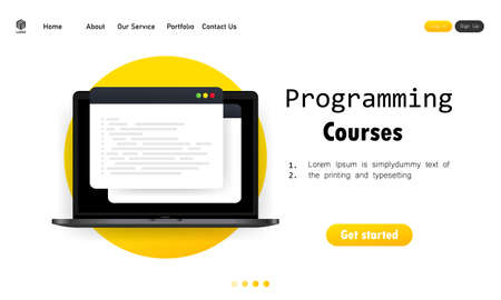 Programming courses illustration. Cyber education course concept. Studying creating program software. Learning coding on laptop. Vector on isolated white background.