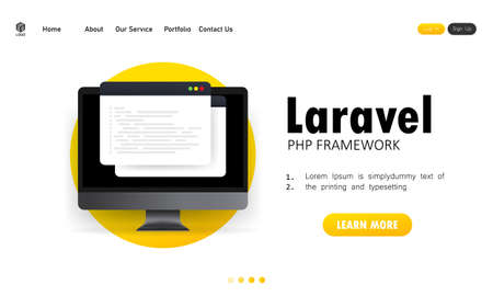 Learn to code Laravel PHP Framework programming language on computer screen, programming language code illustration. Vector on isolated white background.
