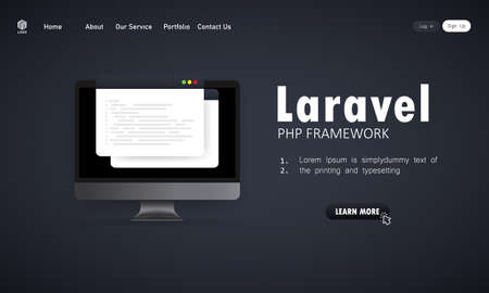 Learn to code Laravel PHP Framework programming language on computer screen, programming language code illustration. Vector on isolated background. Illusztráció