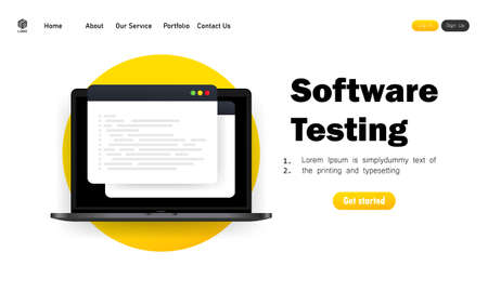 Software development, programming, coding, testing illustration. Vector on isolated white background. Illusztráció