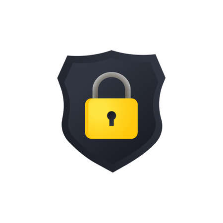 Shield with lock illustration. Cyber security for computer. Protection privacy data. Vector on isolated white background.