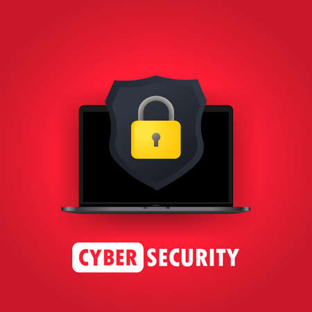 Computer security illustration. Protect your laptop concepts. Notebook and shield icon with padlock. For web banners, web sites, printed materials. Vector on isolated background. Illusztráció