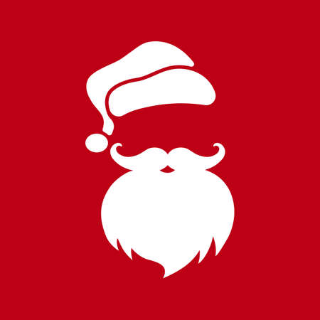 Santa Claus face with beard and hat. Christmas and New Year concept. Vector on isolated background.
