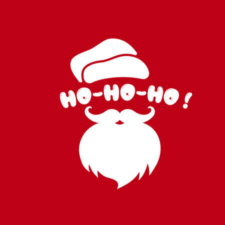 Santa Claus face with beard and hat illustration. Ho-ho-ho. Christmas and New Year concept. Vector on isolated background.