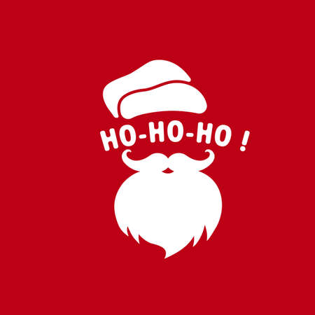 Santa Claus face with beard and hat illustration. Ho-ho-ho. Christmas and New Year concept. Vector on isolated background. Vetores