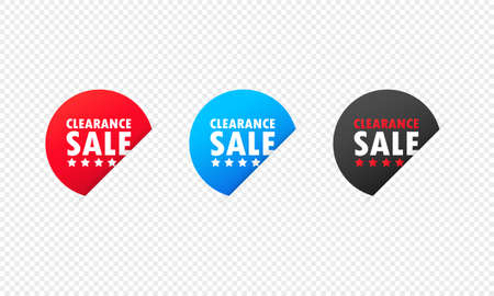 Clearance sale sticker. Low price, discount, promotion, marketing, sale on, discount up to, fast selling shoppers icon. Vector on isolated transparent background. EPS 10.