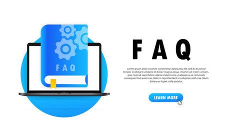 Concept User Guide FAQ book for web page, banner, social media. User Guide book. Vector illustration Çizim