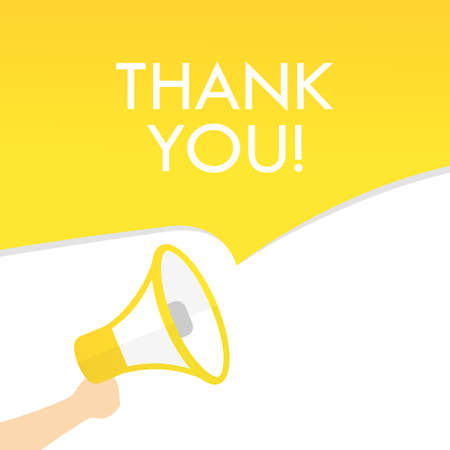 Hand holding megaphone with thank you text. Announcement. Loudspeaker. Banner for business, marketing and advertising.