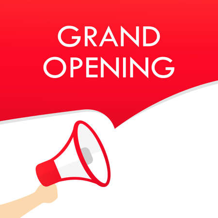 Hand holding megaphone with grand opening text. Announcement. Loudspeaker. Banner for business, marketing and advertising Ilustración de vector