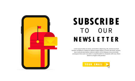 Subscribe to our newsletter banner. UI UX Design form template with text box and subscription button template