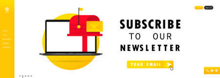 Subscribe to our newsletter banner. Sign up form with envelope, email sign.