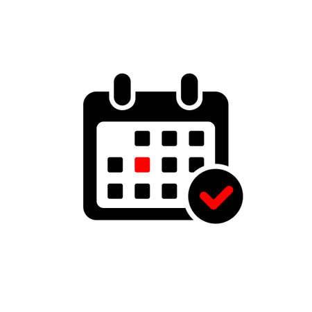 Calendar icon and red circle. Mark the date, holiday, important day concepts.