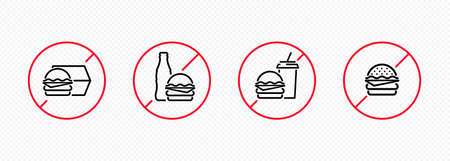 No fast food icon set. Prohibition sign. Forbidden unhealthy eating. Vector EPS 10