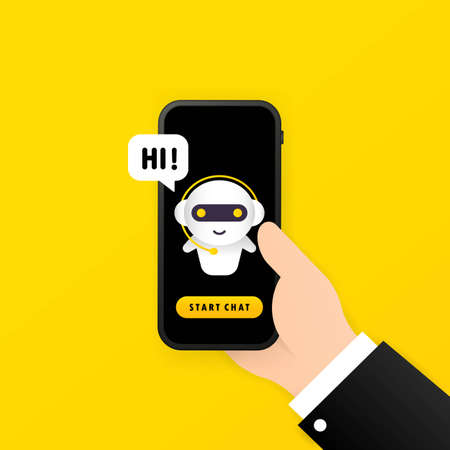 Chatbot in smartphone illustration. Hi message. Online assistant bot landing page template. Dialog. Technical support. For web page. Vector on isolated white background. EPS 10