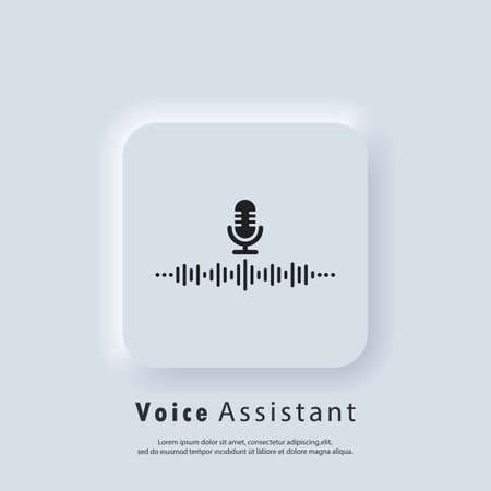 Voice Recognition icon. AI personal assistant and voice recognition icon. Microphone with soundwave. Vector. Neumorphic UI UX white user interface web button. Neumorphism