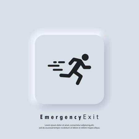 Emergency exit icon. Fire door, safe way, escape. Fire exit. Vector. Neumorphic UI UX white user interface web button. Neumorphism Vector Illustratie