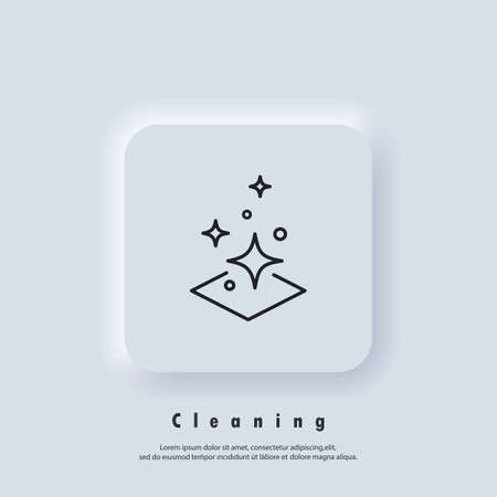 Easy cleaning icon. Clean surface logo. Cleaning logo. Vector. UI icon. Neumorphic UI UX white user interface web button. Neumorphism Logo